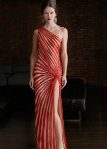 White and red evening dress from Nim Khan