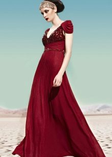 Burgundy evening dress in the Greek style
