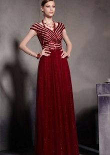 Dress burgundy with a high waist