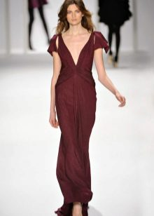 burgundy dress with a deep neckline