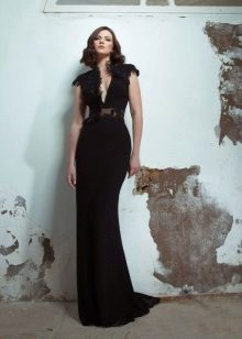 Black elegant evening dress straight to the floor