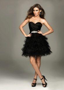 Short fluffy evening dress black