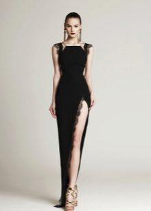 Evening dress with a deep slit