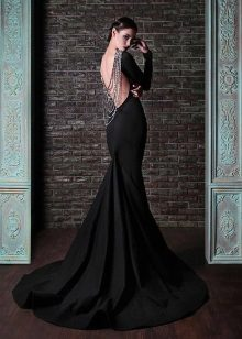 Black evening dress with an open back