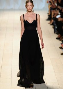 Black evening dress with a deep neckline