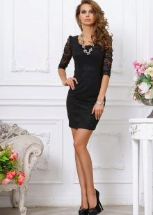 Short black evening dress with sleeves