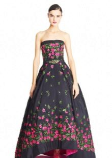 Black evening dress with single flowers
