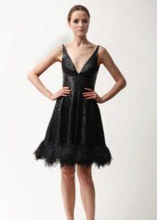 Black evening dress sa style na lino