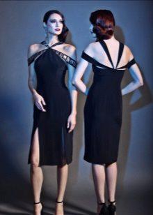 Short evening dress na may slit black