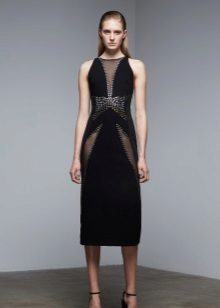 Black evening dress with inserts
