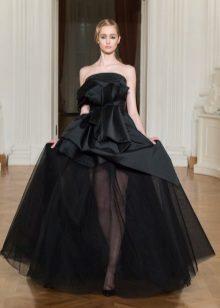 Evening satin multi-tiered dress