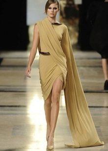 Vestido de noite curto estilo grego com mangas
