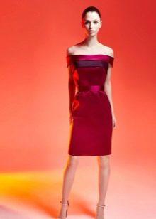 Vestido de noite vermelho curto de cetim