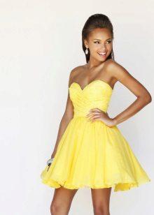 vestido de noite curto amarelo