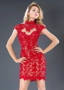 vestido de renda vermelho curto noite