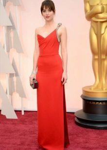 Rød aften kjole med en bh
