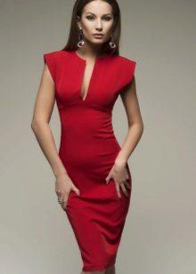 Rød kjole aften midi
