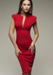 Red dress evening midi