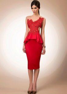 Kappe kjole kort rød blonder