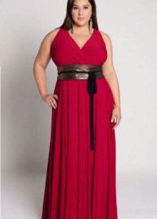 mørk rød aftenklæde for fuld