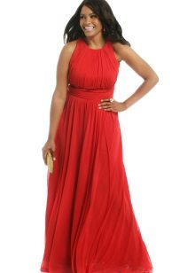 Red evening dress para sa napakataba sa American armhole
