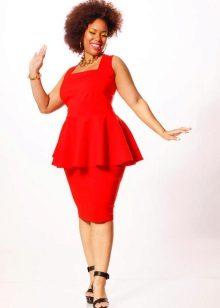 Rød aften kjole for fuld med basky