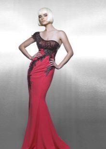 Rød og sort havfrue aftenkjole
