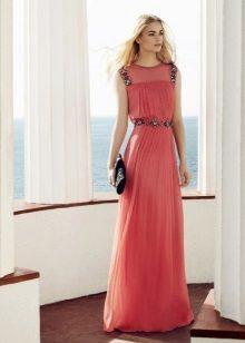 Rød Aftenkjole med Plisseret Nederdel