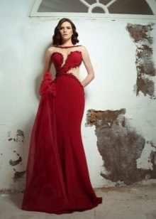 Rød aften kjole til gulvet