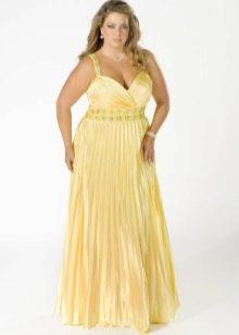 Vestit de nit elegant de talla gran de color groc llarg