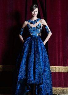 Pakaian petang biru dengan sulaman