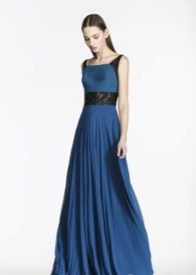 Blue at black evening dress