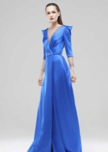 Blue evening dress na may sleeves