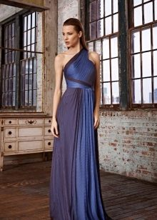 Blue evening dress sa isang balikat