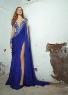 Blue evening dress sa estilo ng Griyego