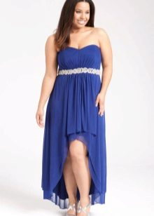 Vestit de nit de color blau curt al davant, llarg obert completament