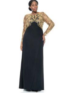 Vestit de nit negre amb un cosset d'or per al casament complet