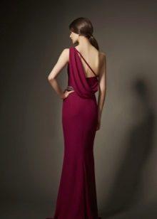 Vestido de noite Borgonha com costas abertas
