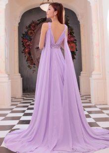 Vestido de noite roxo com as costas abertas