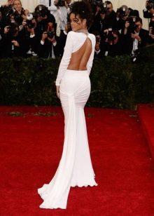 Vestido de noite branco com costas abertas Riana