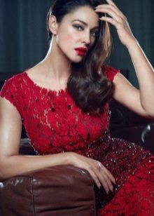 Red stars evening gown