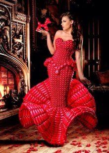 Vestit de nit vermell de globus