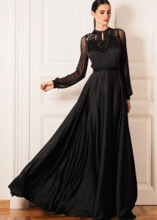 Vestido de noite preto festivo para o chão