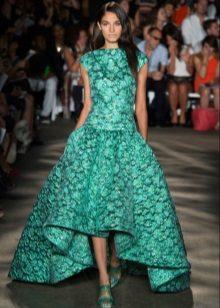Vestido de noite de renda verde