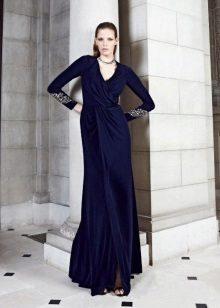 Vestido de noite azul para o chão