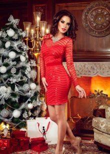 Vestido de noite vermelho para o ano novo