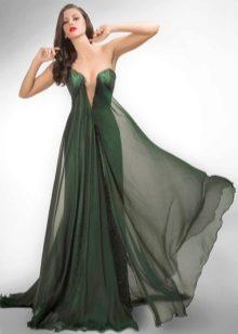 Vestido de noite sexy verde com um decote profundo