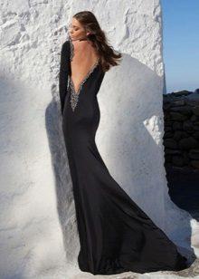 Evening vestido sexy preto com um decote profundo