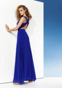 Vestido de noite sexy com um azul de costas abertas