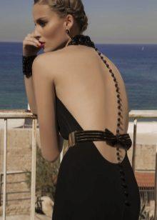 Vestido de noite sexy com a ilusão de uma parte traseira aberta
